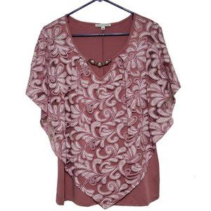Notations Women Sheer Lavender Swirl Jeweled Top